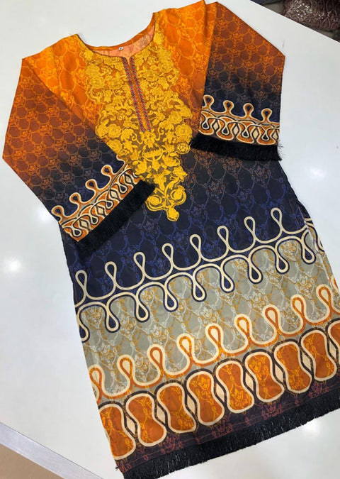 DX937-1 Readymade Orange Lawn Kurti - Memsaab Online