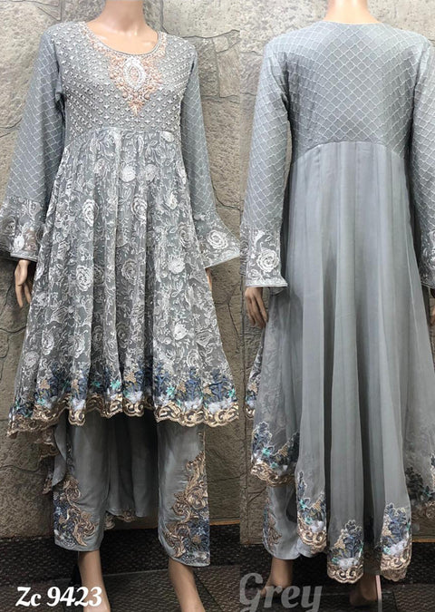 Zoon - Readymade - Grey - Chiffon Tail Dress - Pakistani Designer Branded - Memsaab Online