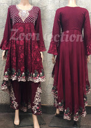 Zoon - Readymade - Red - Chiffon Tail Dress - Pakistani Designer Branded - Memsaab Online