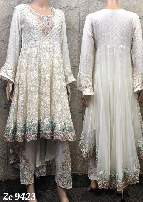 9423 - Zoon - Readymade - White- Chiffon Tail Dress - Pakistani Designer Branded - Memsaab Online