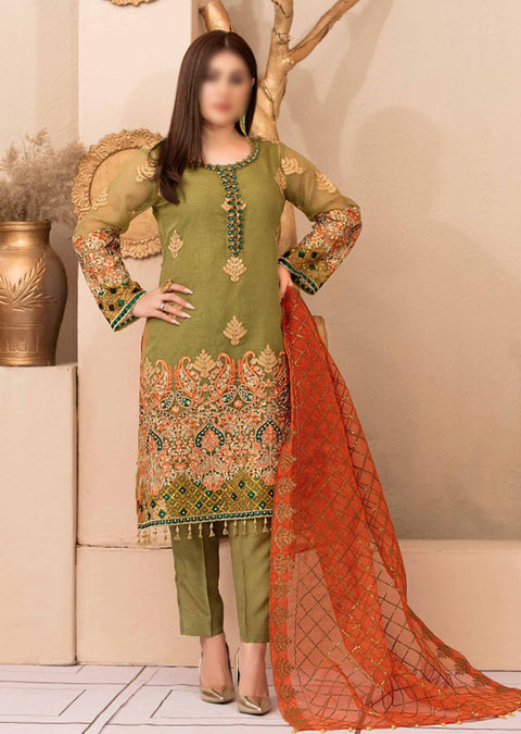 D9545 - Unstitched - Glory and Grandeur Fancy Chiffon Collection by Tawakkal - Memsaab Online