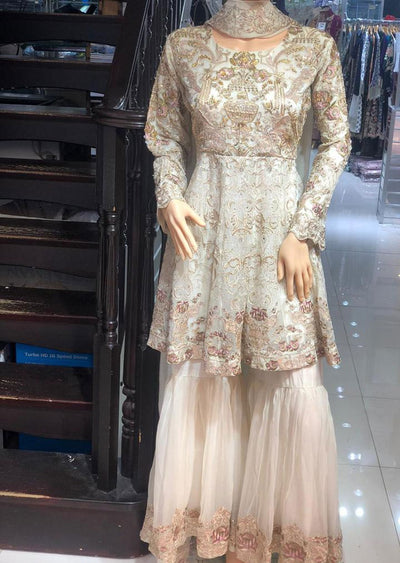 ZN9840 Readymade Zoon Gold Sharara Suit - Memsaab Online