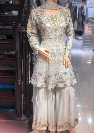 ZN9840 Readymade Zoon Grey Sharara Suit - Memsaab Online