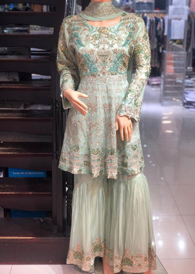 ZN9840 Readymade Zoon Mint Sharara Suit - Memsaab Online