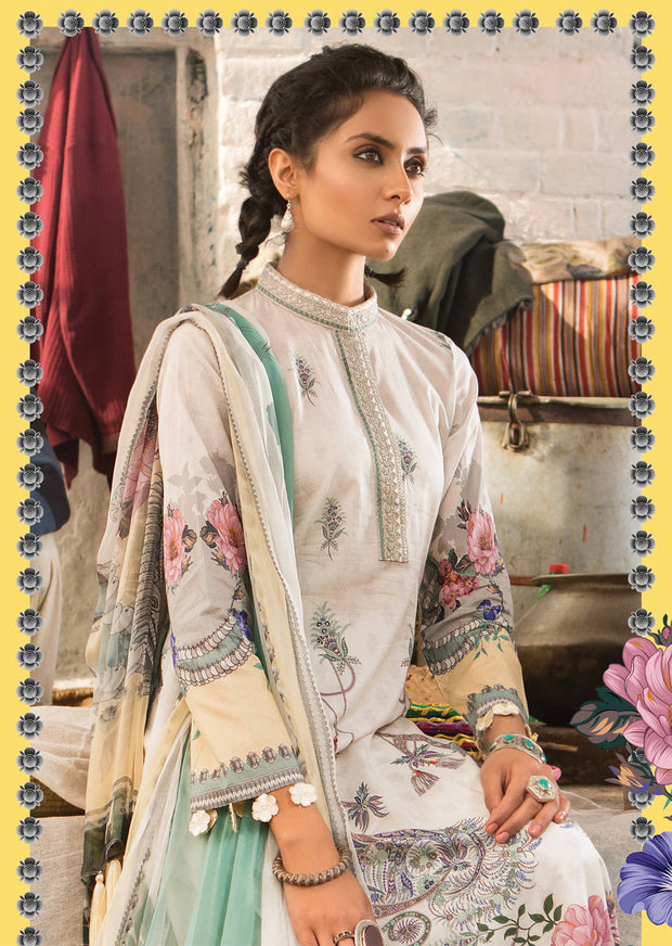 9A Maria B M Prints Unstitched 2019 - Pakistani Designer Embroidered Lawn Suit Spring / Summer UK DELIVERY - Memsaab Online