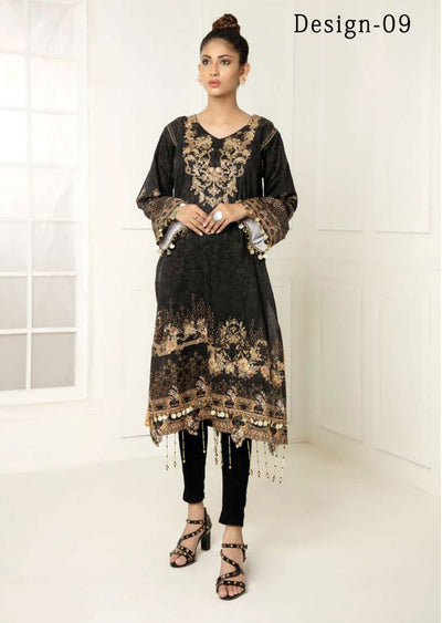 Design 09 - Nouroze Black Lawn Embroidered Kurti - Memsaab Online
