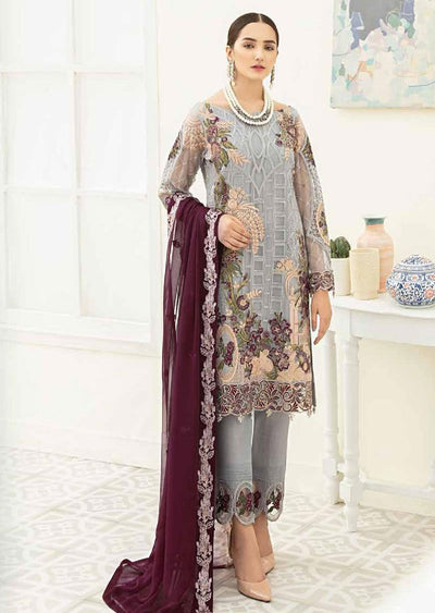 F1909 - Unstitched Ramsha Luxury Chiffon Collection Vol 19 - Memsaab Online