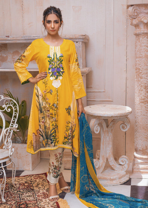 AMT21007 - Readymade Embroidered Premium Lawn Dress - Memsaab Online