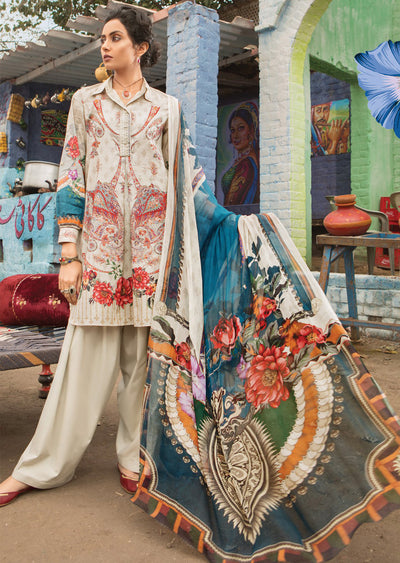 9B Maria B M Prints Unstitched 2019 - Pakistani Designer Embroidered Lawn Suit Spring / Summer UK DELIVERY - Memsaab Online