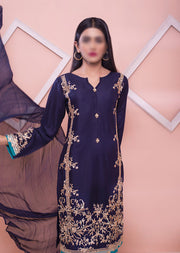 HK37 Blue Linen Embroidered Suit - Memsaab Online