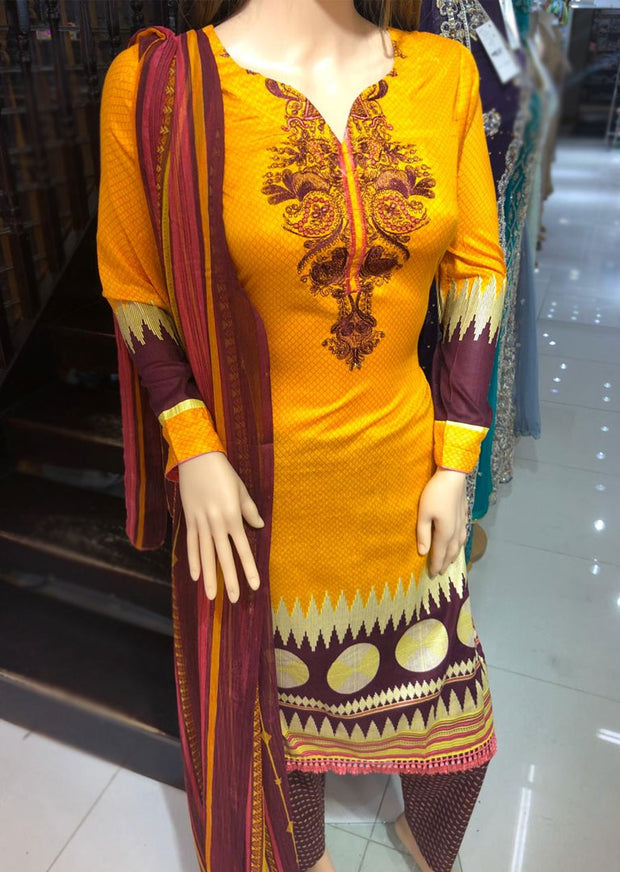 AMT1922 Orange Readymade Embroidered Lawn Dress - Memsaab Online