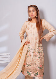 HK08 Readymade Gold Embroidered Linen Suit - Memsaab Online