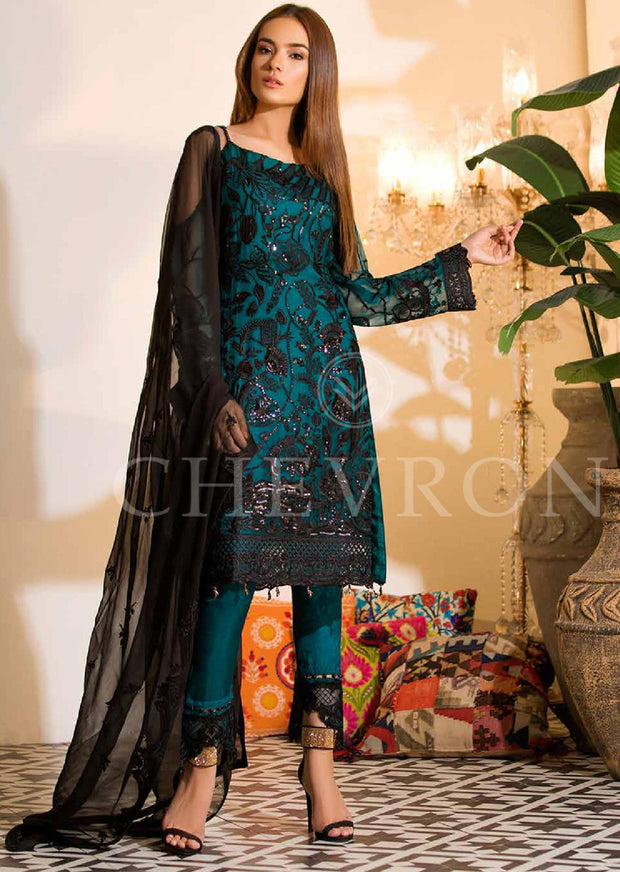UNSTITCHED - FARYAL MAKHDOOM LIMITED EDITION Chevron Luxury Chiffon - Memsaab Online