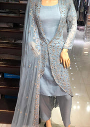 AD236 Readymade Grey Jacket Suit by Sofia Shaan - Memsaab Online