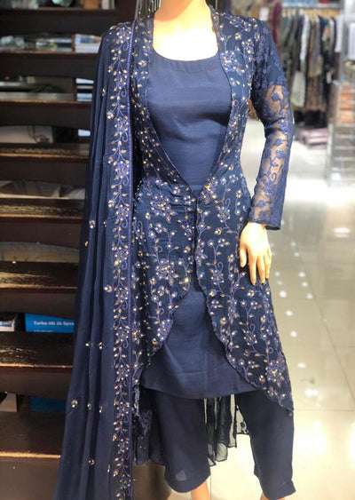 AD236 Readymade Navy Jacket Suit by Sofia Shaan - Memsaab Online