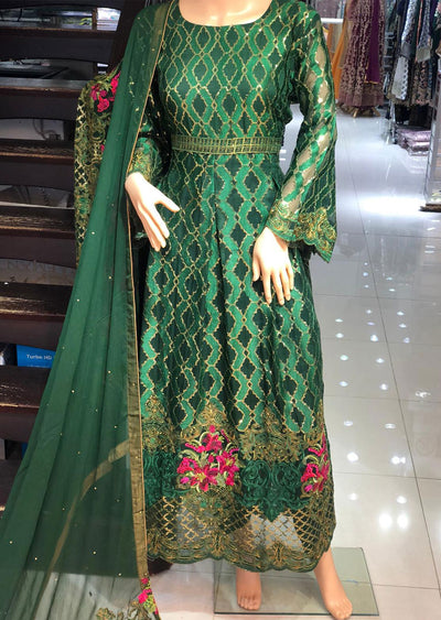 AD303 Readymade Dark Green Chiffon Dress by Sofia Shaan - Memsaab Online