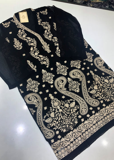 AGH02 Agha Noor Chiffon Embroidered Kurti - Memsaab Online