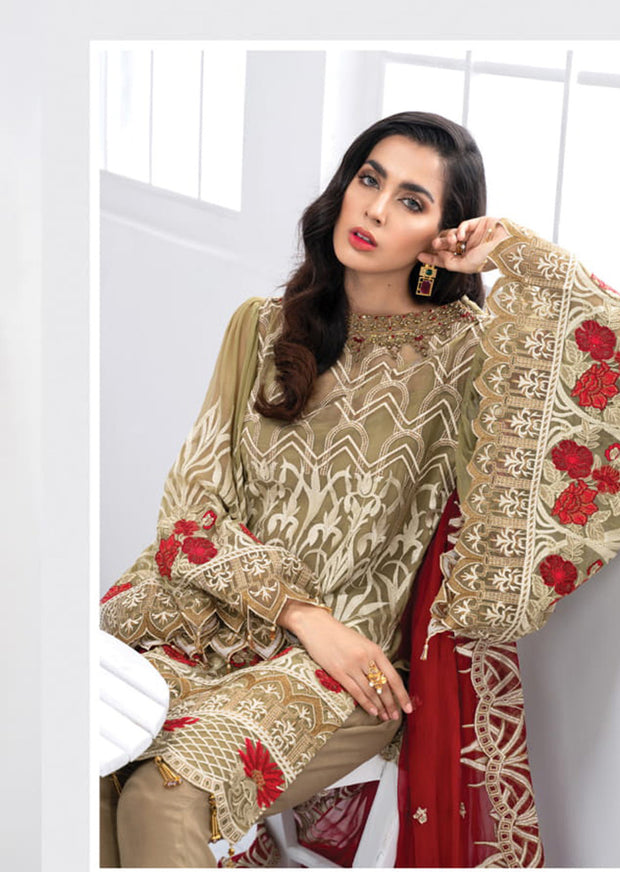 Peruvian Rose - Nigaar Unstitched Collection by Akbar Aslam - Memsaab Online