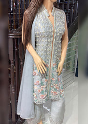AL 2953 Grey Readymade Net Suit by Allys - Memsaab Online
