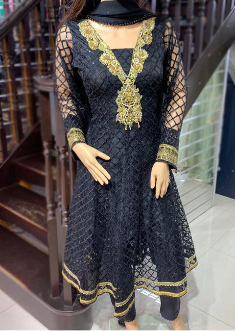 AL 2997 Black Readymade Net Sequence Dress by Allys - Memsaab Online