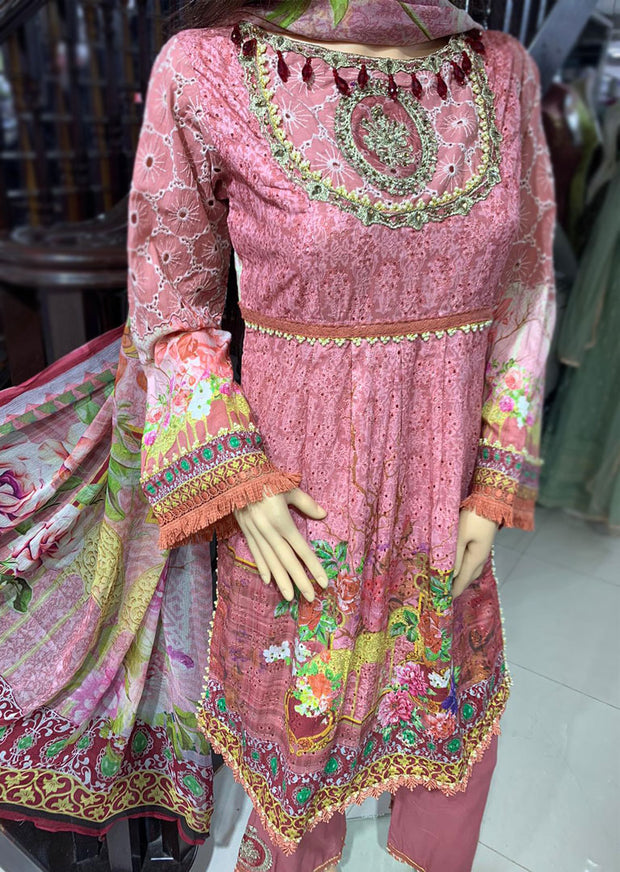 AL74 Readymade Embroidered Chicken Frock Suit by Allys - Memsaab Online