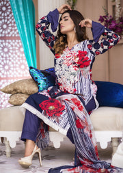 AMT1402 - Blue - Readymade - Embroidered Lawn Suit - Pakistani Designer by Memsaab - Memsaab Online