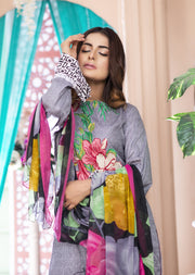AMT1404 - Grey - Readymade - Embroidered Lawn Suit - Pakistani Designer by Memsaab - Memsaab Online