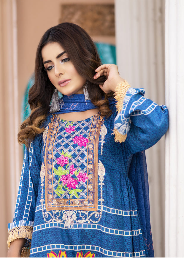 AMT1406 - Blue - Readymade - Embroidered Lawn Suit - Pakistani Designer by Memsaab - Memsaab Online