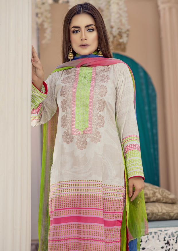 AMT1407 - Pink - Readymade - Embroidered Lawn Suit - Pakistani Designer by Memsaab - Memsaab Online
