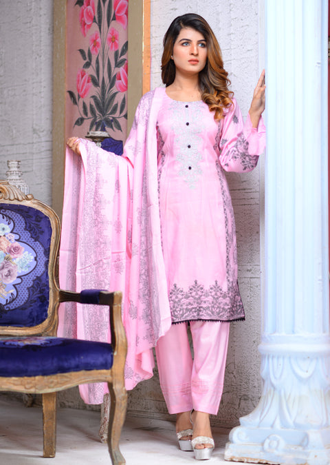 Readymade - Pink - Linen with Woollen Shawl or Chiffon Duppatta - Memsaab Online