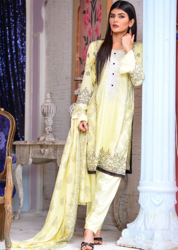 Readymade - Yellow - Linen with Woollen Shawl or Chiffon Duppatta - Memsaab Online