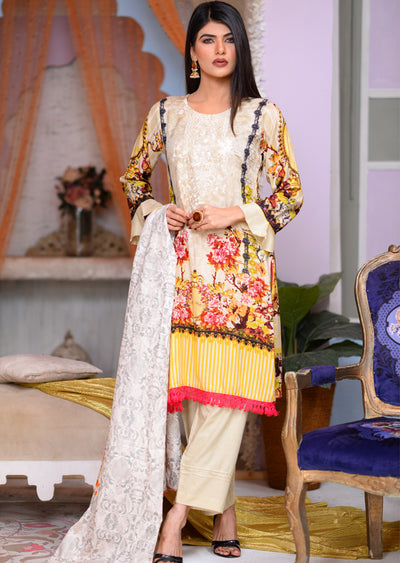 Readymade - Offwhite - Linen with Woollen Shawl - Memsaab Online