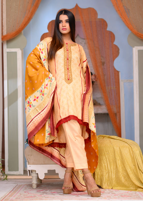 Readymade - Yellow - Linen with Woollen Shawl - Memsaab Online