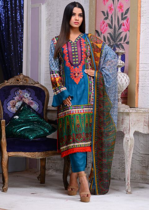 AMT1702 - Readymade - Blue - Linen with Chiffon Duppatta - Memsaab Online