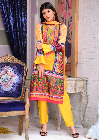 Readymade - Yellow - Linen with Chiffon Duppatta - Memsaab Online