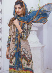 Ceriya Off White Ready to Wear Embroidered Lawn Suit - Memsaab Online
