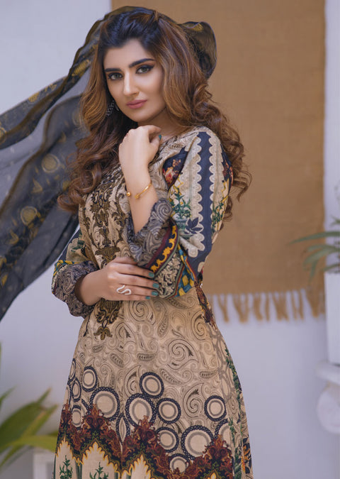 Santiago Beige Ready to Wear Embroidered Lawn Suit - Memsaab Online