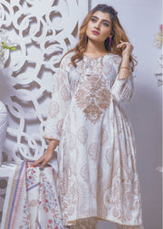 Vanilla Ice White Ready to Wear Embroidered Lawn Suit - Memsaab Online