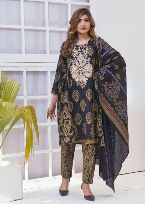 Brotchetta Black Ready to Wear Embroidered Lawn Suit - Memsaab Online