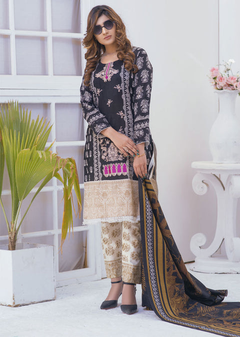 Pristine Black with Pink Ready to Wear Embroidered Lawn Suit - Memsaab Online