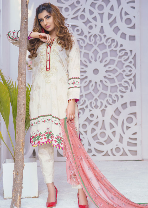 Fantasia White Ready to Wear Embroidered Lawn Suit - Memsaab Online