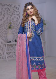 Electric Nostalgia Blue Ready to Wear Embroidered Lawn Suit - Memsaab Online