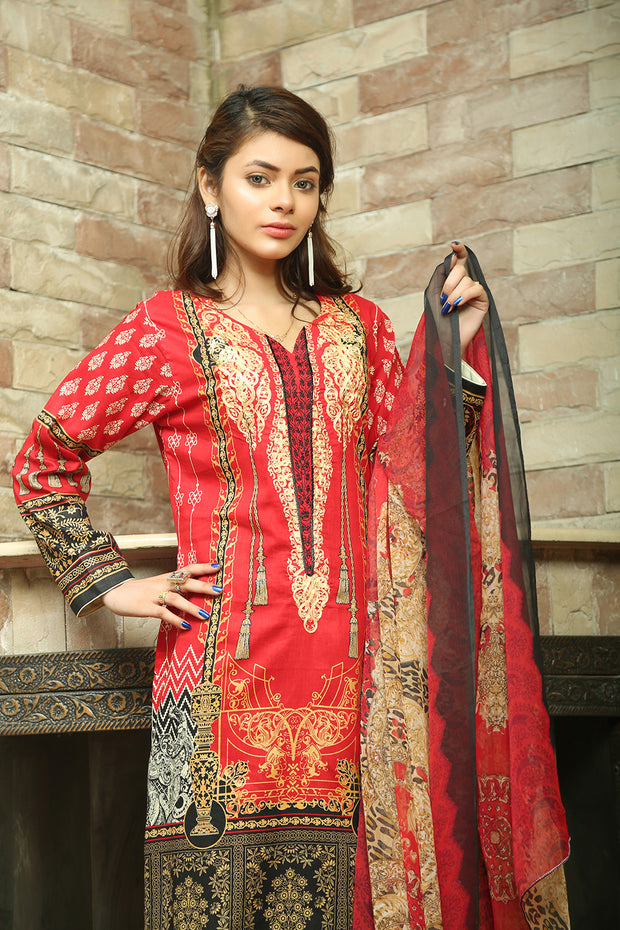 AMT702 Red - Readymade Pakistani Lawn Suit - Diamond Heritage - Lawn 2019 Vol 1 - Memsaab Online