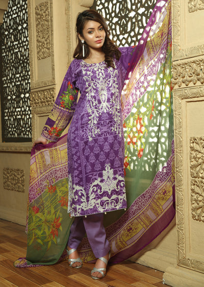 AMT712 - Shanice - Readymade Pakistani Lawn Suit - Lilac - Lawn 2019 Vol 1 - Memsaab Online