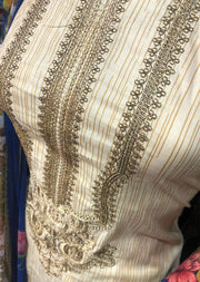 AMT1904 Antique Gold Emb Readymade Embroidered Lawn Suit - Memsaab Online
