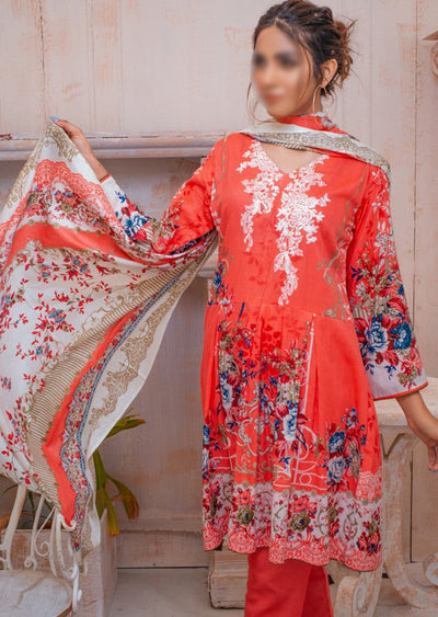 AMT20037 - Readymade Peach Embroidered Lawn Suit - Memsaab Online