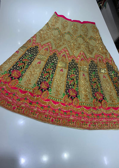 SHB6212- G Black Embroidered Multicolour Skirt - Memsaab Online