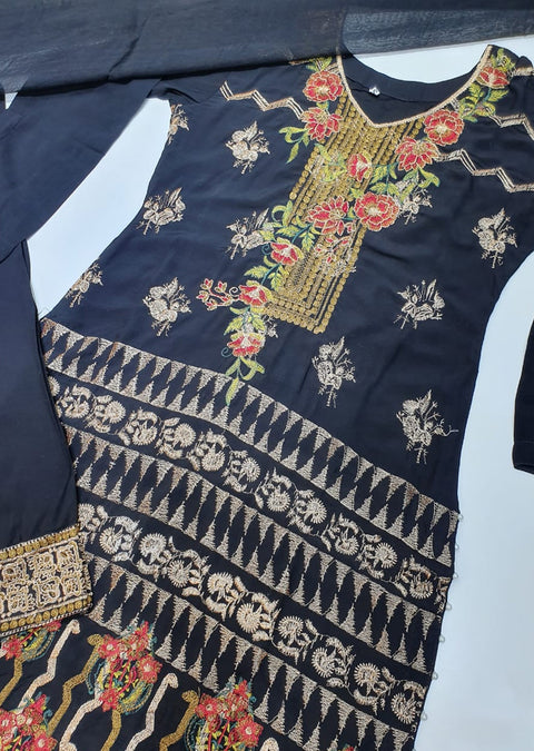 D5 Readymade Black Linen Embroidered Suit - Memsaab Online
