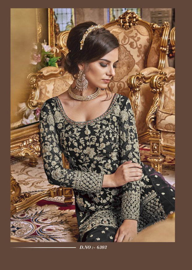 Unstitched - Black Violet Inspired Fancy Partywear Suit - Memsaab Online