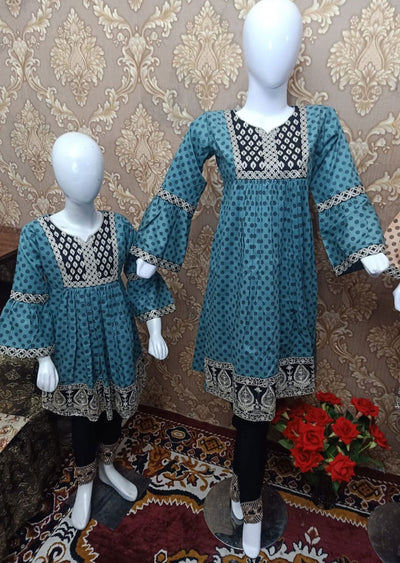 BLG5101 Blue Readymade Mother & Daughter Lawn Suit - Memsaab Online